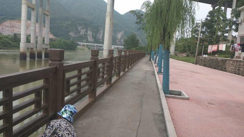 河边风景水泥围栏